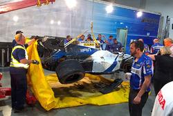 The crashed car of Esteban Gutierrez, Dale Coyne Racing Honda