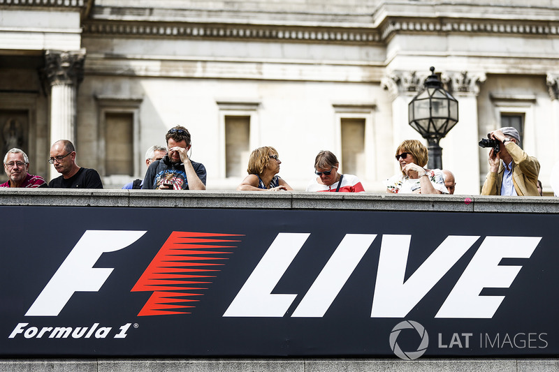 F1 Live logo on a banner