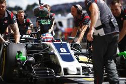 Romain Grosjean, Haas F1 Team VF-17, in the pit lane