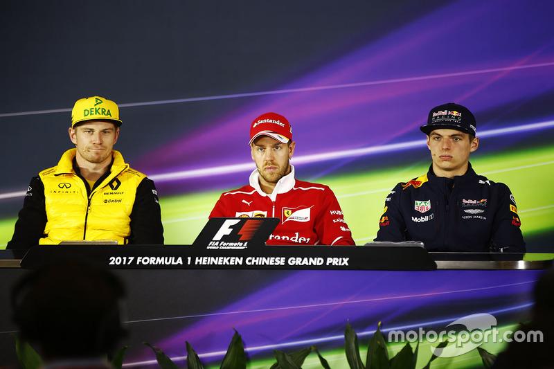 Nico Hülkenberg, Renault Sport F1 Team; Sebastian Vettel, Ferrari; Max Verstappen, Red Bull