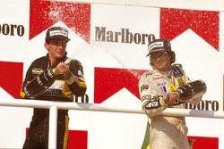 Podyum: Yarış galibi Nelson Piquet, Williams Honda, 2. Ayrton Senna, Team Lotus