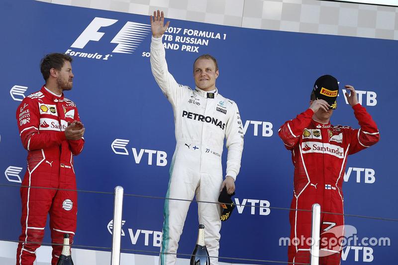 Rusya GP, Podyum: Yarış galibi Valtteri Bottas, Mercedes AMG F1, 2. Sebastian Vettel, Ferrari 3. Kimi Raikkonen, Ferrari