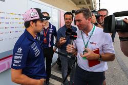 Sergio Perez, Sahara Force India talks with Craig Slater, Sky TV