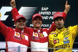 Подиум: второе место Рубенс Баррикелло, Ferrari, победитель гонки Михаэль Шумахер, Ferrari, третье место Хайнц-Харальд Френцен, Jordan