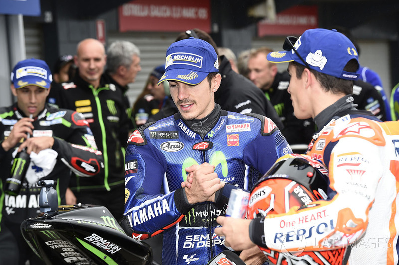 Second place Maverick Viñales, Yamaha Factory Racing, Marc Marquez, Repsol Honda Team