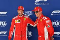 Sebastian Vettel, Ferrari et Kimi Raikkonen, Ferrari, dans le parc fermé