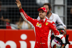 Sebastian Vettel, Ferrari, celebrates his pole position