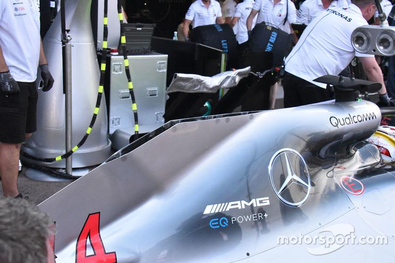 Detalle de la carrocería trasera del W09 del Mercedes
