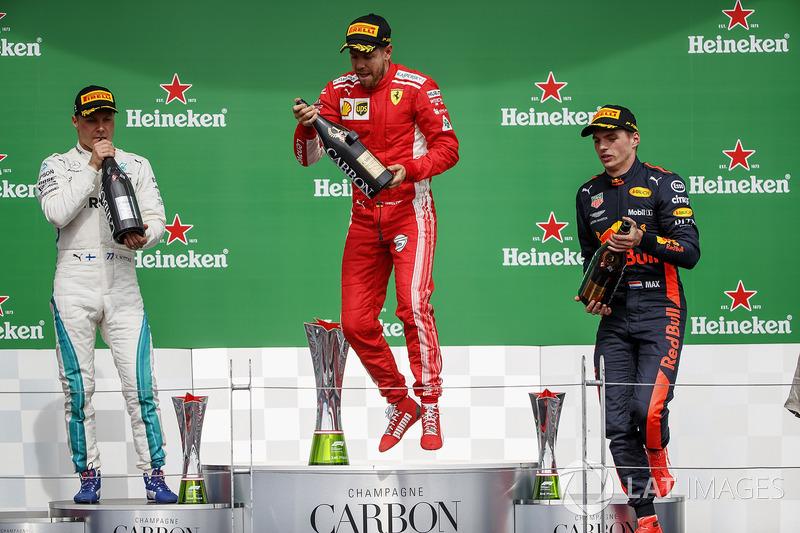 Canada - Podium : Sebastian Vettel, Valtteri Bottas, Max Verstappen