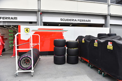 Ferrari garage and Pirelli tyres