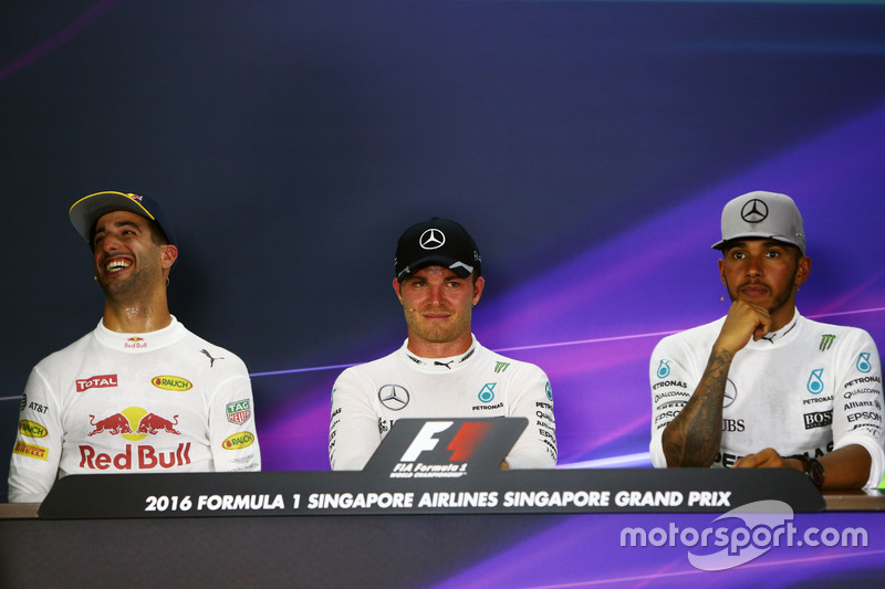 The post race FIA Press Conference (L to R): Daniel Ricciardo, Red Bull Racing, second; Nico Rosberg, Mercedes AMG F1, race winner; Lewis Hamilton, Mercedes AMG F1, third