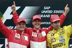 المركز الثاني: روبنز باريكيلو، فيراري، الفائز بالسباق مايكل شوماخر، فيراري، المركز الثالث هاينز-هارالد فرينتزن، جوردان