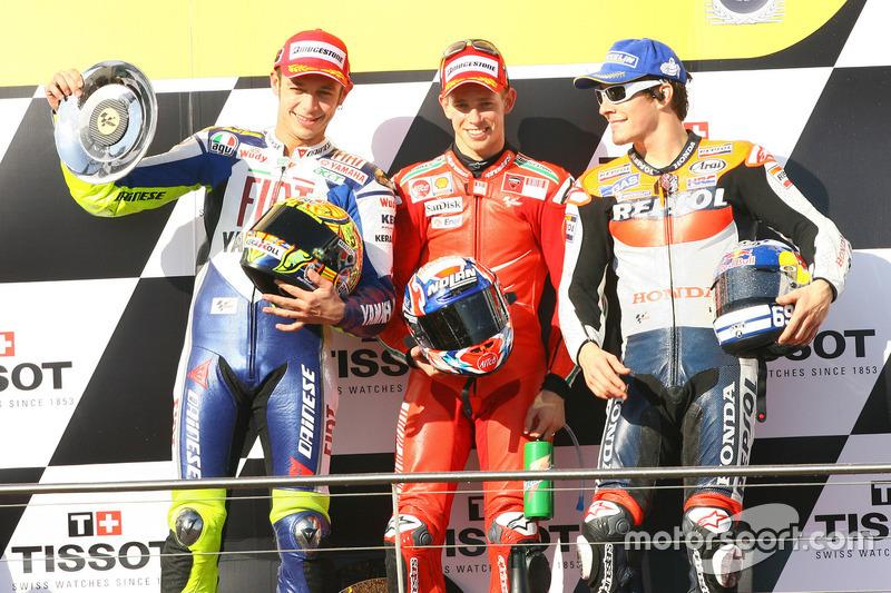 Podyum: ikinci sıra Valentino Rossi, Yamaha; Yarış galibi Casey Stoner, Ducati; üçüncü sıra Nicky Hayden, Repsol Honda
