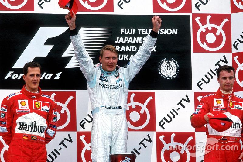 1999: 1. Mika Hakkinen, 2. Michael Schumacher, 3. Eddie Irvine