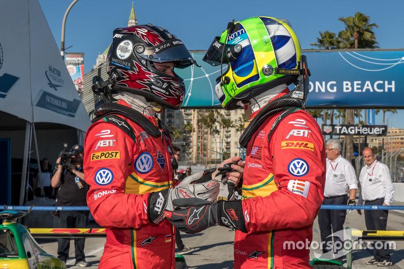 Carrera ganador Lucas di Grassi, Schaeffler de ABT Audi Sport con su compañero de equipo en tercer lugar Daniel Abt, ABT Schaeffler Audi Sport