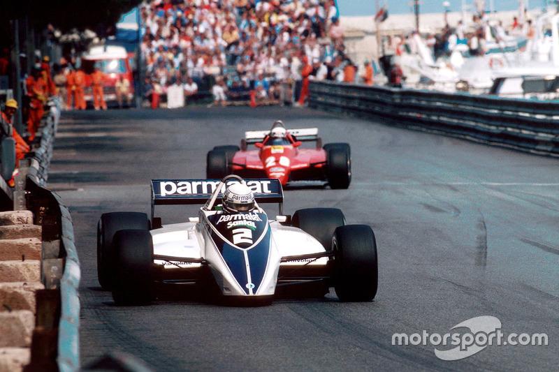 Ricardo Patrese, Brabham BT49D leads Didier Pironi, Ferrari
