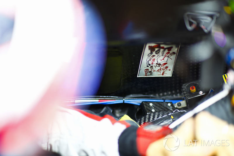 A children's drawing on the inside of the cockpit of Romain Grosjean, Haas F1 Team