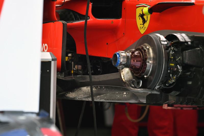 Ferrari SF-71H front brake and wheel hub detail