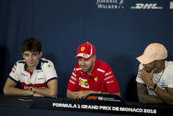 Charles Leclerc, Sauber, Sebastian Vettel, Ferrari and Lewis Hamilton, Mercedes-AMG F1 in the Press Conference