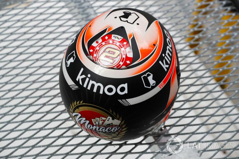 Dettaglio del casco di Stoffel Vandoorne, McLaren