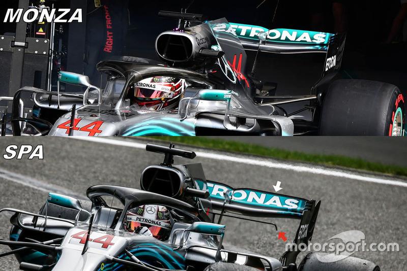 Comparación del alerón trasero de Italia y Bélgica en el Mercedes W09