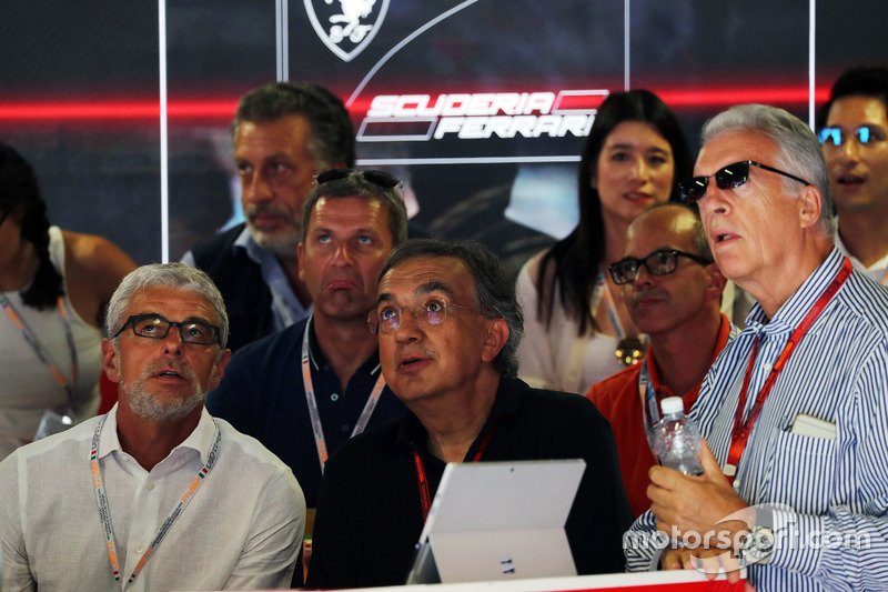 Sergio Marchionne, Ferrari President and CEO of Fiat Chrysler Automobiles (Centre) and Piero Ferrari