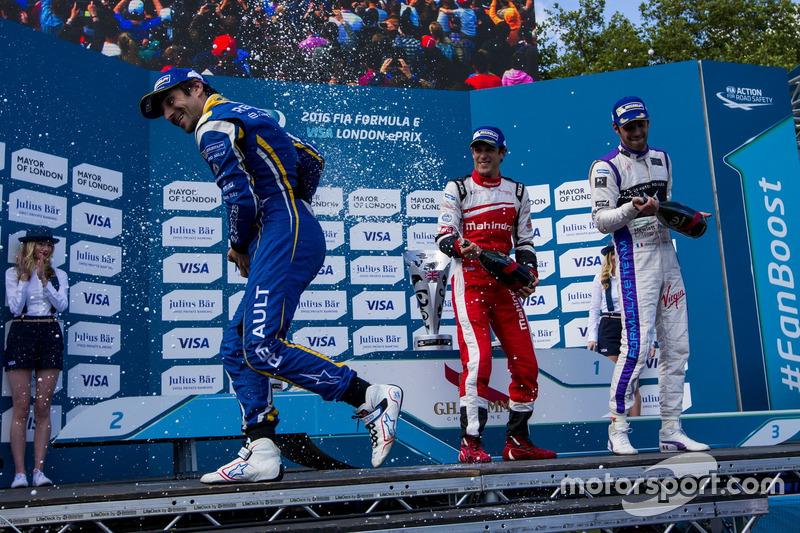 Podium: Sieger Nicolas Prost, Renault e.Dams; 2. Bruno Senna, Mahindra Racing; 3. Jean-Eric Vergne, DS Virgin Racing