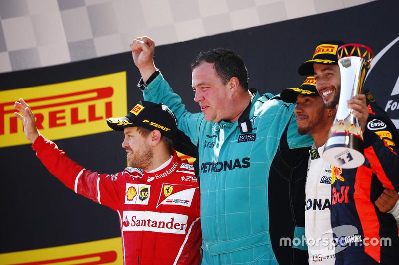 2017 1.  Lewis Hamilton,  2. Sebastian Vettel,  3.  Daniel Ricciardo