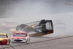 Chris Buescher, Front Row Motorsports Ford, rolls