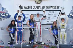 Podium: race winner Oliver Askew, Cape Motorsports, second place Rinus van Kalmthout, Pabst Racing, third place Kaylen Frederick, Team Pelfrey