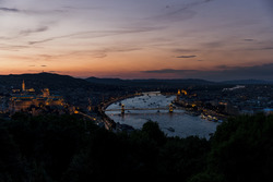 A view of Budapest at dusk