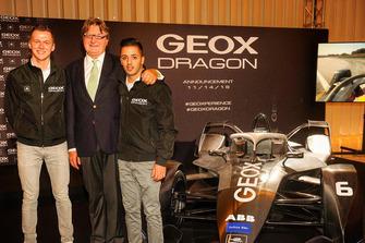 Maximilian Günther e Antonio Fuoco con Mario Moretti Polegato, Presidente e fondatore di GEOX