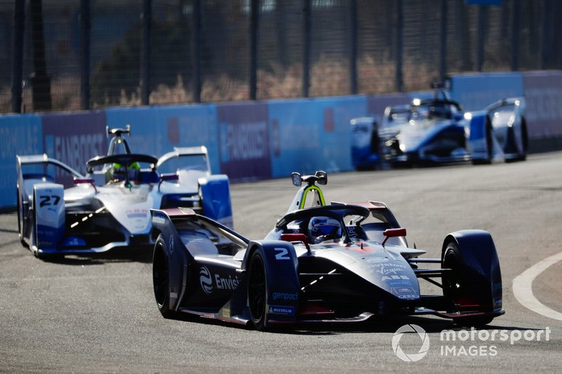Sam Bird, Envision Virgin Racing, Audi e-tron FE05, Alexander Sims, BMW I Andretti Motorsports, BMW iFE.18, Antonio Felix da Costa, BMW I Andretti Motorsports, BMW iFE.18