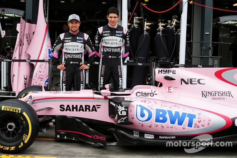 Sergio Pérez, Sahara Force India F1 y Esteban Ocon, Sahara Force India F1 Team con el Sahara Force I