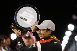 Helio Castroneves, Team Penske Chevrolet celebrates winning the Verizon P1 Pole Award