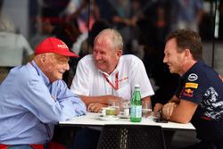 Niki Lauda (Mercedes AMG F1), Helmut Marko en Christian Horner (Red Bull Racing)