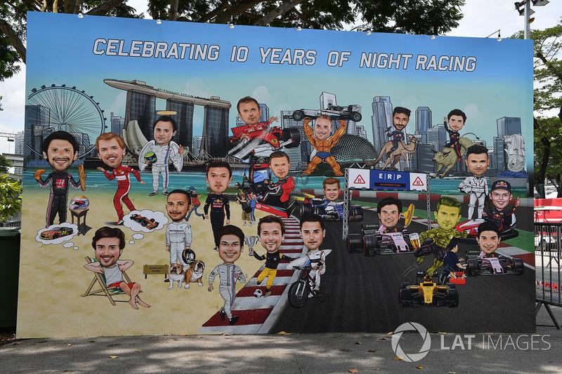 Gran Premio de Singapur: caricaturas de los pilotos celebrando los 10 años de la carrera nocturna.