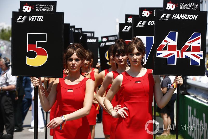 Chicas de la parrilla Sebastian Vettel, Ferrari, Lewis Hamilton, Mercedes AMG F1