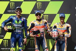 Ganador de la pole Marc Márquez, Repsol Honda Team, segundo Valentino Rossi, Yamaha Factory Racing, y tercero Dani Pedrosa, Repsol Honda Team