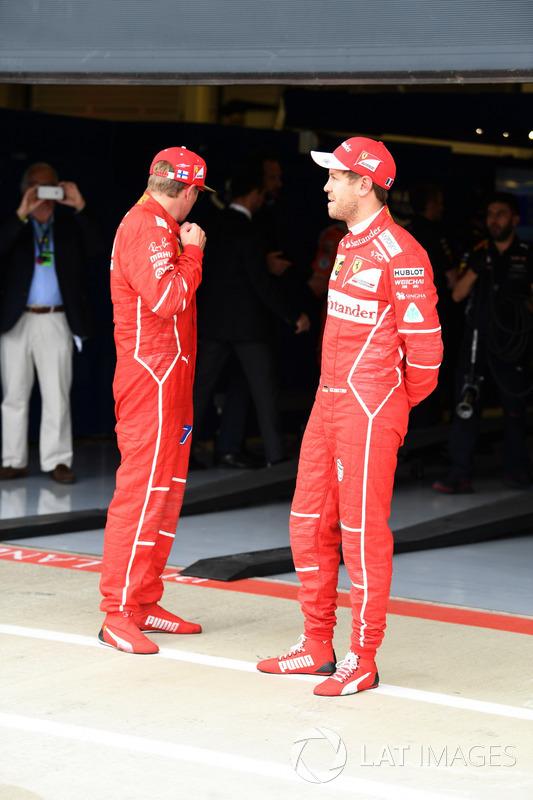 Kimi Raikkonen, Ferrari y Sebastian Vettel, Ferrari celebran en parc ferme