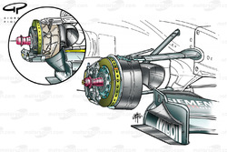 McLaren MP4-18 front brake (note caliper position, changed from MP4-17D inset)