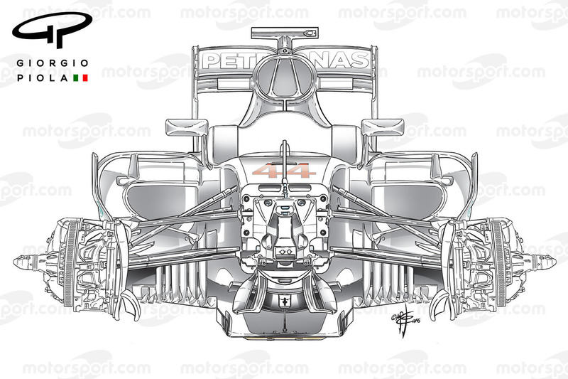 Mercedes W07 front suspensions, first view