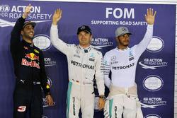 Pole position for Nico Rosberg, Mercedes AMG F1; second place Daniel Ricciardo, Red Bull Racing; third place Lewis Hamilton, Mercedes AMG F1