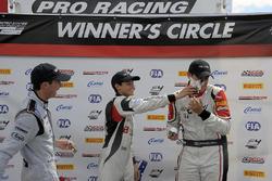 Podium: race winner Cameron Das, second place Kyle Kirkwood, third place Moises de la Vara