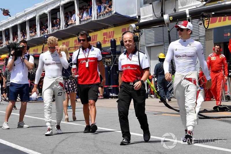 Josef Leberer, Sauber Trainer and Charles Leclerc, Sauber