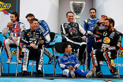 Kyle Larson, Chip Ganassi Racing Chevrolet sits on the stage after having his chair pulled out from under him by Kevin Harvick