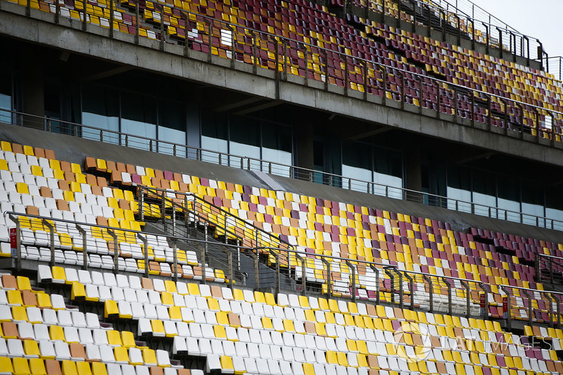 Empty seats in a grandstand on Thursday