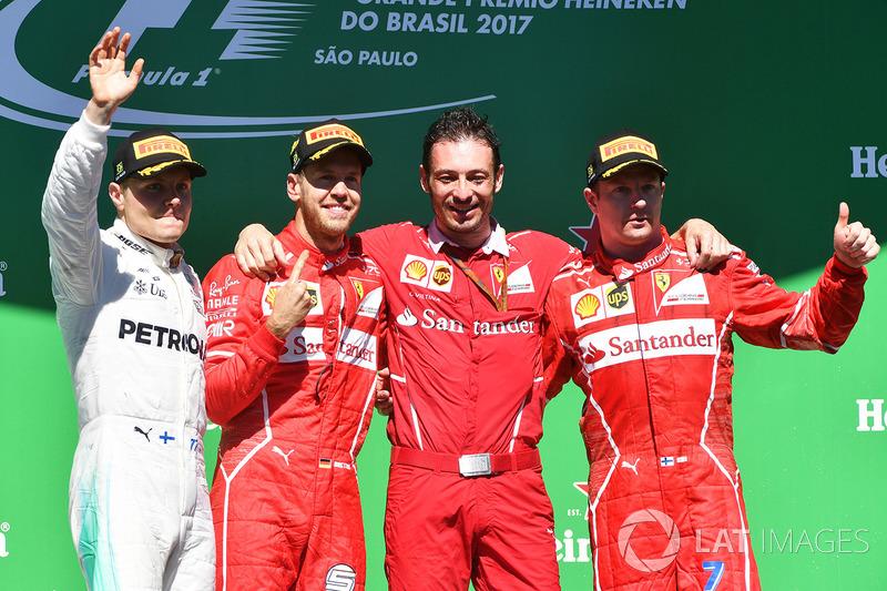 19º Podio del GP de Brasil 2017 - 2º Valtteri Bottas, Mercedes; 1º Sebastian Vettel, Ferrari; 3º Kimi Raikkonen, Ferrari