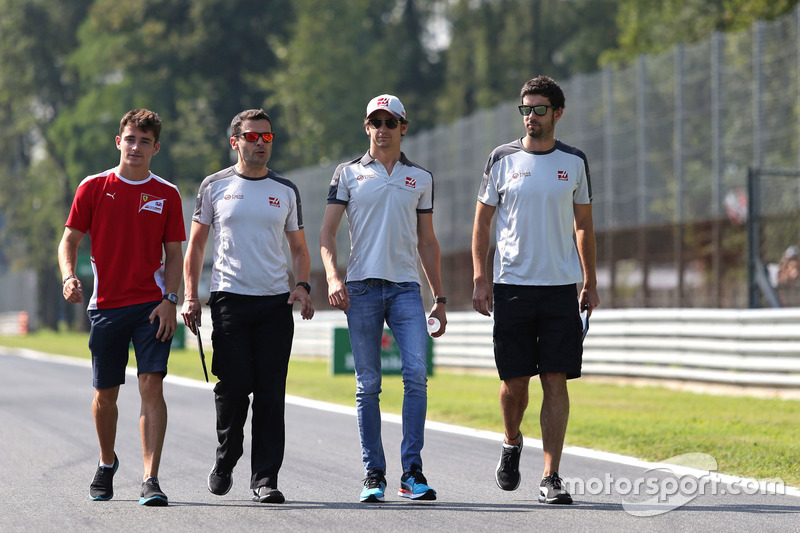Charles Leclerc, test driver, Haas F1 Team and Esteban Gutierrez, Haas F1 Team
