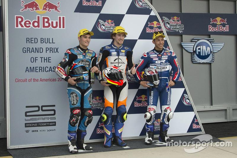 Il poleman Philipp Oettl, Schedl GP Racing, il secondo qualificato Jorge Navarro, Estrella Galicia 0,0 e il terzo qualificato Enea Bastianini, Gresini Racing